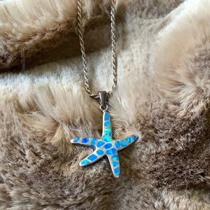 Turquoise colored pieces on Starfish necklace